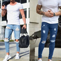 Mens Skinny Stretch Denim Pants Distressed Ripped Biker Slim Fit Jeans Trousers