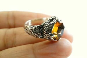 Round Yellow Citrine Intricate Design 925 Sterling Silver Ring Size 6.5 7 8