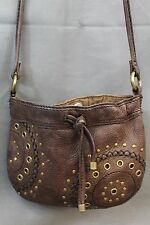 FOSSIL SL2721 Small Brown Leather Studded Shoulder Bag Purse