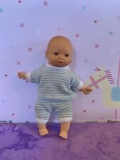 "Vintage Little Small Mini Baby Doll Vinyl blue stripe clothing 6.5"" made Spain"