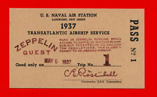 Hindenburg Airship Last Flight Ticket Reprint On 80 Year Old Paper Zeppelin *003