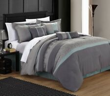 Chic Home Euphoria Embroidered Comforter Set - Aqua - Queen - 8 Piece
