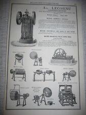 Pub 1878 - Ad. Lecornu / Beyer / Machine à Pate etc...