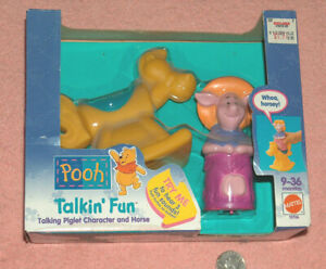 1994 Mattel Winnie The Pooh Talkin' Fun PIGLET Figure & Rocking Horse 9-36 Month