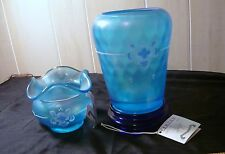 90th Anniversary Fenton glass 2 vase quilted cobalt stretch blue iridescent Sign