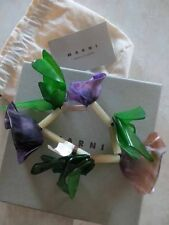 Marni Purple Green Handcrafted Dyed Cattle Horn Spiky Floral Leaf Bracelet Cuff