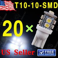 20PCS T10 White 168 194 501 W5W 10 SMD LED Car Side Wedge Light Lamp Bulb DC 12V