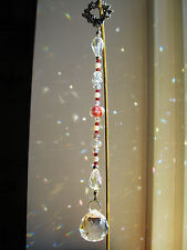 Crystal Suncatcher * Victorian Red Rose Ball Drop * Ornament * Swarovski