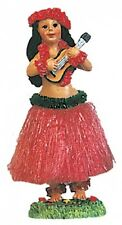 NEW Hawaiian Hawaii Dashboard Hula Doll RED Skirt Dancer Girl w/ UKULELE # 40606