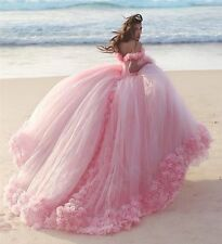 Rosa Blume Brautkleider A-line Hochzeitskleid Abendkleid Ballkleid langer Zug