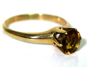 Stunning Citrine High Claw Solitaire 9ct Rose gold ring size L 1/2 ~ 6