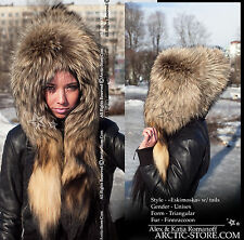 Real Russian Raccoon Fur Hat Eskimo Eskimoska with 2 original tails New & Luxury