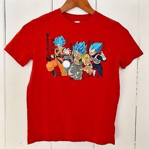 Old Navy Boys Shirt Size L 10-12 Red Dragonball Z Super Goku Vegeta Gogeta (H)