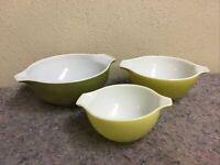 Vintage Green Pyrex Mixing Bowl Partial Set-32, 33, 34