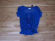 Abercrombie & Fitch Jr. M Button Ruffle Pull Over S/S Royal Sheer Top NWT Cute!