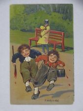 1910 Embossed Comic Postcard A Study in Oils Earl Stewart Center Point IA Ger.