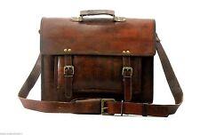 Genuine Vintage Leather Messenger Laptop Briefcase Satchel Brown shoulder bag