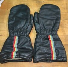 Rainbow Striped Black Mittens Winter Gloves Cold Weather Snowmobiling Vintage