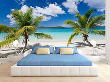 Palm Trees Sand Sea Beach Blue Water Wall Mural Photo Wallpaper GIANT WALL DECOR
