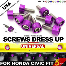 Type M8x1.25 Engine Exhaust Header Washer Bolt Kit 9 Pcs Purple For Honda 4 Cyl