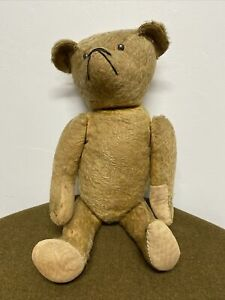 """Super Old 24"""" Teddy Bear Jointed body Mohair Metal Button Eyes"""