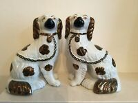 Vintage Pair of Staffordshire Flat Back Mantle Piece Wally Dogs Cream & Copper