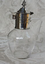 Small Claret Jug Blown Glass &  Silver Plate Victorian Gothic Revival 1880's