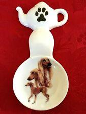 Saluki Dog New Handmade Ceramic-Porcelain Tea Bag Spoon Rest Kiln Fired Gift