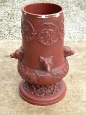 1900 JOHANN MARESCH AUSTRIA 23,5cm Keramik Siderolith VASE Jagd Hund Fuchs Jäger