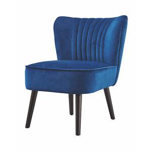 Kirkton House Luxury Velvet Accent Chair Blue Padded Armchair Lounge Living Room