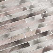 Aluminium Metall Mosaik Fliesen Metallmosaik Stäbchen gebürstet Braun Grau
