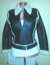 HENNES Black REAL LEATHER Faux SHEEPSKIN JACKET S uk12us8eu38 Chest c34in c86cms