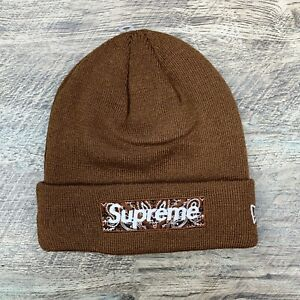 Supreme x New Era Box Logo Bandana Brown FW19 Beanie
