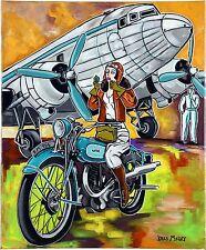 "Tableau contemporain biker woman airplane "" L'aviatrice sur sa moto "" KRIS MILVY"