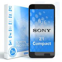 EAZY CASE 3x Displayschutzglas für Sony Xperia Z1 Compact Schutzglas Glasfolie