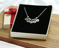 5 Disc Pendant Personalised Jewellery Name Engraved Necklace Silver Plated UK