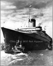 Photo: Grand Tug EF Moran JR. & The Mighty SS Normandie - New York Harbor, 1940