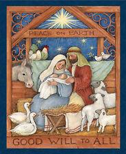 "Christmas Nativity Mary Joseph Jesus Cotton Fabric CP64466 35""X44"" Wall Panel"