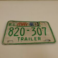 BC British Columbia Trailer License Plate Vintage EXPO 1986 Green White