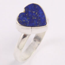 925 Sterling Silver Ring 6.5 Natural Lapis Lazuli Heart Design Gemstone