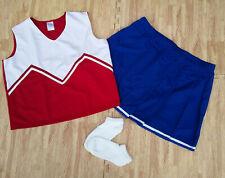 Adult Plus Size Red Blue Cheerleader Uniform Top Skirt Socks 42-44/36-39 Cosplay