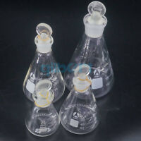 50-1000ml Lab Borosilicate Glass Erlenmeyer Conical Flask with Ground-in Stopper