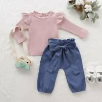 Toddler Infant Baby Girl Outfits Long Sleeve Tops Denim Loose Pants Clothes Set