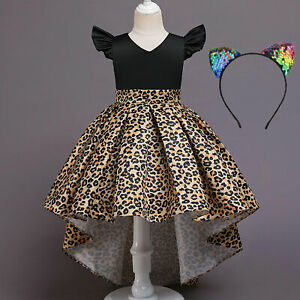 Flower Girls Pleated Dress Christmas Party Dresses Gown Costumes with Headband