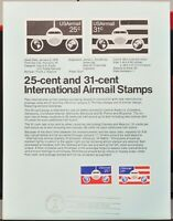 USPS 1976 First Day Issue Souvenir Page, 25-cent and 31-cent International Air