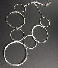 Big STATEMENT Silver Circles Chain Necklace boho Lagenlook