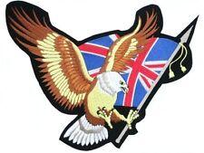 """UK Flag Eagle Proud British Biker Rider Big XL Embroidered Back Vest Patch 13.9"""""""