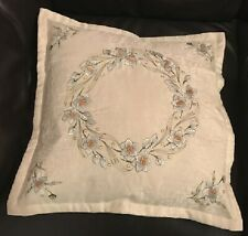 """Set of 4 Blue Ingrid Floral Embroidered, Lightly Padded 18"""" cushion covers"""