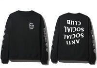 DS Anti Social Social Club ASSC white logo Blacked Out Black Long Sleeve Tee