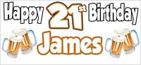 Beer 21st Birthday Banner x 2 Party Decorations Mens Husband Dad Grandad Son